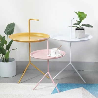 Nordic Living Room Small Round Several Modern Minimalist Sofa Corner Table Side Table Small Round Table Metal Mini Coffee Table