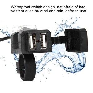 Image 5 - Newdesign المزدوج USB ميناء 12V للماء دراجة نارية دراجة نارية المقود شاحن 5V 2A محول مأخذ التيار الكهربائي للهاتف المحمول