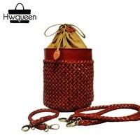 100% ручной вязки дизайнер из натуральной коровьей кожи Для женщин круглый бочонок кошелек женский сумка шнурок крышки маленькая сумочка