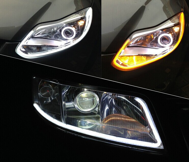 2x Белый Янтарный гибкая трубка стиль горки фара полосы Ангел украшения в виде глаз свет для BMW