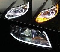 2x White Amber Flexible Tube Style Switchback Headlight Headlamp Strip Angel Eye DRL Decorative Light For
