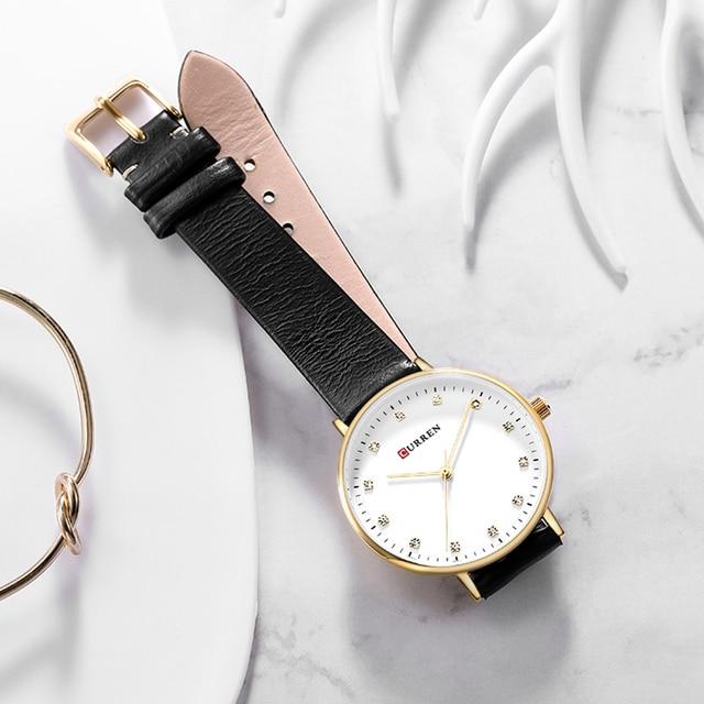CURREN Fashion Womens Simple Diamond Elegant Ladies Wrist Watch  5