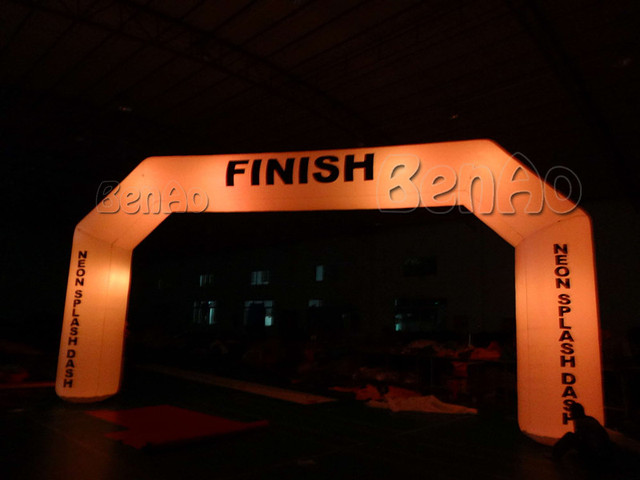 R032 8m  Inflatable event arch  for Advertisement  with LED light  and Double Sided Digital logo printing