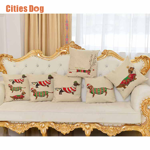 cartoon animals decorative pillows cushion sausage dog christmas decorations for home pillow cushions decor cojines - Christmas Decorative Pillows