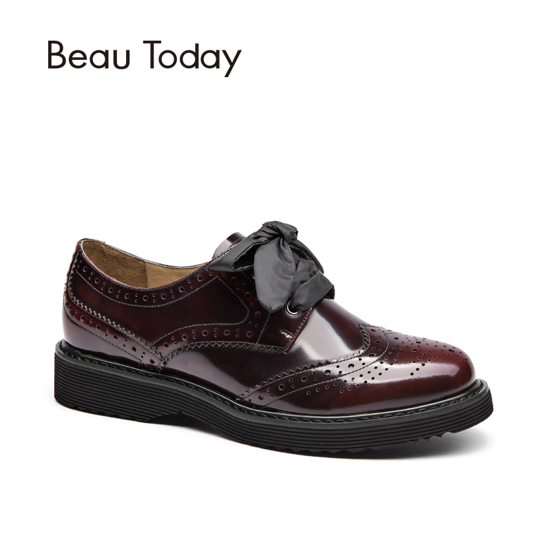 BeauToday Brogue Shoes Women Genuine Leather Lace-Up Flats Round Toe Glazed Patent Cow Leather 3 Kinds of Shoelaces 21089 qmn women distressed brushed cow suede brogue shoes women round toe lace up oxfords shoes woman genuine leather flats