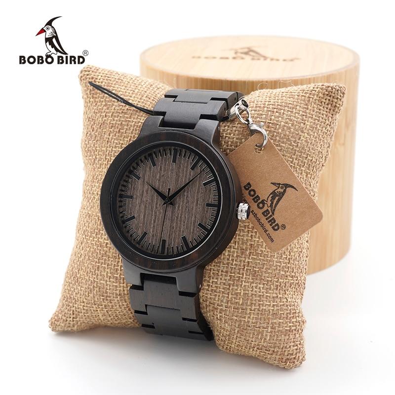 BOBO BIRD Men's Black Ebony Wooden Watch with Wooden Watch Male Strap Quartz Analog kol saati Luxury Dial Diameter Custom logo
