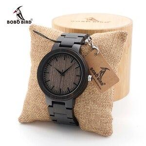 Image 1 - BOBO BIRD Mens Black Ebony Wooden Watch with Wooden Watch Male Strap Quartz Analog kol saati Luxury Dial Diameter Custom logo