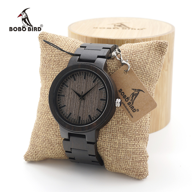 BOBO BIRD Mens Black Ebony Wooden Watch with Wooden Watch Male Strap Quartz Analog kol saati Luxury Dial Diameter Custom logo