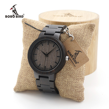 BOBO BIRD reloj de madera de ébano negro para hombre, con correa de madera, analógico, de cuarzo, esfera de lujo, logotipo personalizado