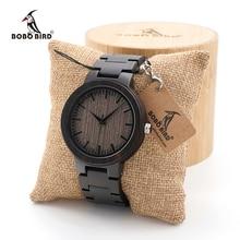 BOBO BIRD ساعة رجالية خشب الأبنوس الأسود مع ساعة خشبية الذكور حزام الكوارتز التناظرية كول ساتي الفاخرة الطلب قطر شعار مخصص