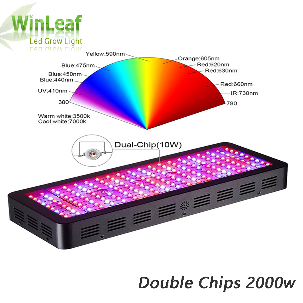 LED Grow Light Full Spectrum Palnt Grow Lamp Double Chips For Indoor Plants Greenhouse Hydroponics Seed And Flowering