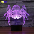3D Lamp Spider Night Light Bedside Lights Table Lampara With Changeable  Scary  Spider Night Light Xmas Gift