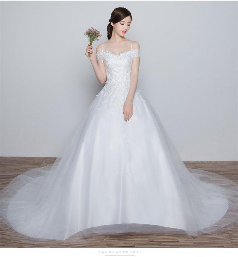 Charming Tulle Wedding Dresses Long Court Train Bridal