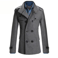 New Style 2017 Winter Casual Double Breasted Coat Men Stand Collar Slim Fit Long Trench Coat
