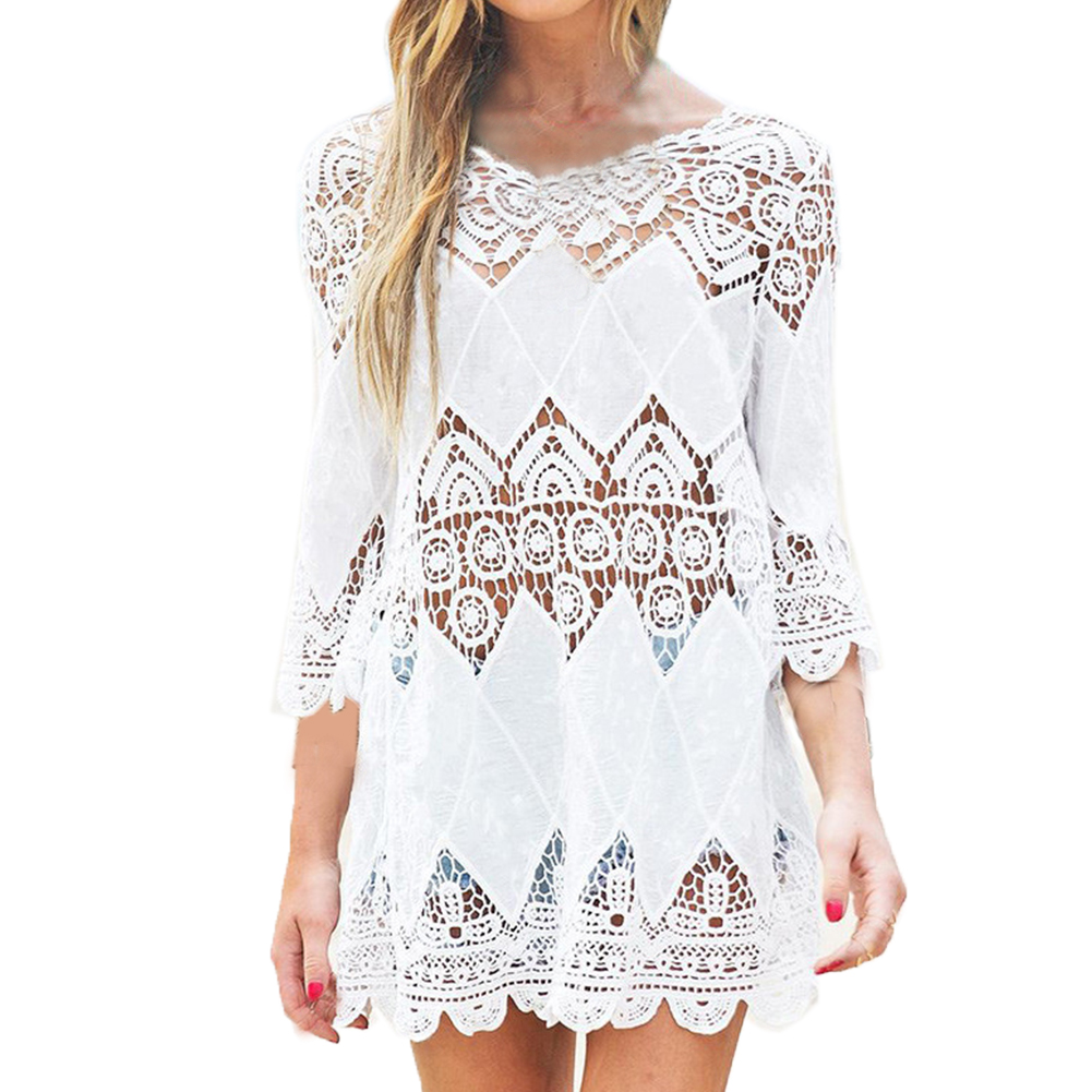 купить New Summer Swimsuit Lace Hollow Crochet Beach Bikini Cover Up 3/4 Sleeve Women Tops Swimwear Beach Dress White Beach Tunic Shirt по цене 557.58 рублей