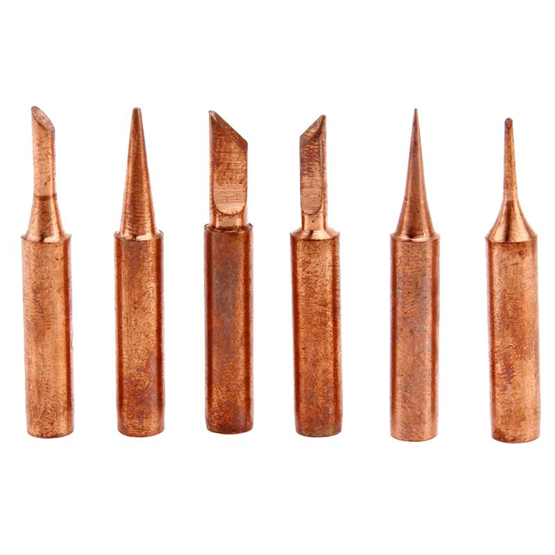 6pcs/Set Welding Nozzle Pure Red Copper Solder Iron Tip Lead-free Solder Tip Tool Kit Diamagnetic DIY 900M-T-C 933 376 907 913