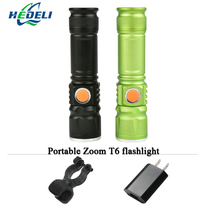 portable light USB mini flashlight CREE XM L T6 LED torch rechargeable waterproof flash light 3000 lumen 18650 Built-in battery 2016 newest flashlight led cree xm l2 flash light 4 mode torch bike bicycle light outdoor lighting 18650 battery mount holder