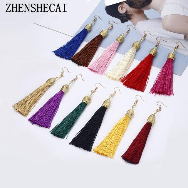 Vintage long Tassel Earrings for Women Fashion Brand Jewelry Geometric gold Color Simple Drop Earrings jewelry wholesale e0142