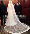 Free shipping actual Long wedding veils White or Ivory bridal veils 3M Lace hem Wedding Veil
