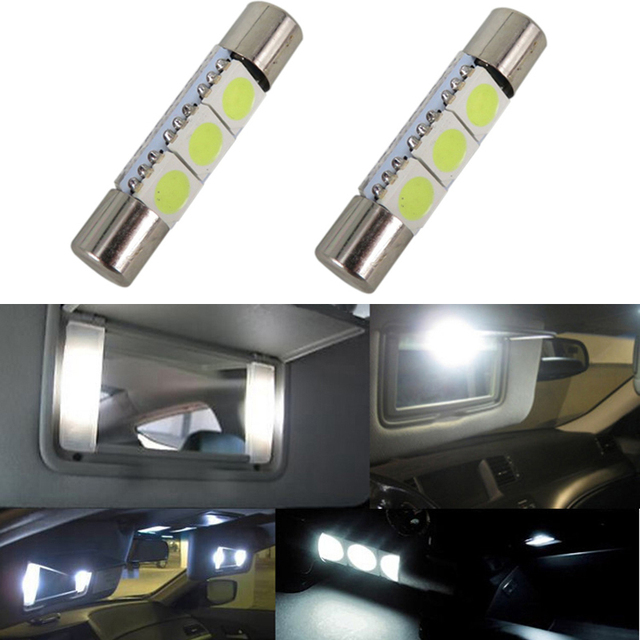 1pcs Auto Led T6 3 28 31mm 5050 Smd Cool White 12v Car