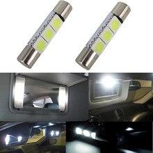 1 pces auto led t6.3 28/31mm 5050 3 smd branco 12 v carro veículo interior sun visor vaidade espelho luzes maquiagem lâmpada luzes.