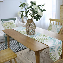 Nodic Plant Leaf Print Table Runner Flag Modern Thick Solid Tablecloth TV Cabinet Cover Wedding Party Home Decoration