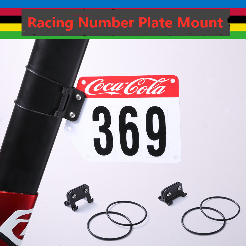 Bike Racing Number Plate Mount Holder Cycling Plate Number Holder V shape/circular Decals Clamp Cards Bracket Bicycle Sticke
