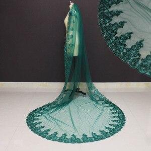Image 2 - 진짜 사진 블링 레이스 가장자리 한 레이어 녹색 결혼식 베일 빗 성당 웨딩 액세서리