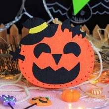 Lovely Halloween Pumpkin Style Felt Applique Candies Bag Coin Purse Cards Holder Sewing Art Needlework Felt DIY Material Package(China)