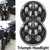 One Pair (2pcs) Emarked LED 5.75 5 3/4 Motorcycle Projector Light Bulb Headlight DOT fit Harley Triumph