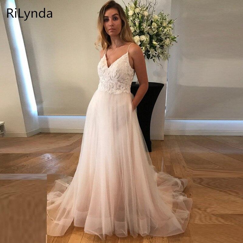 Boho robe de mariée 2019 appliqué avec des fleurs Tulle a-ligne Sexy dos nu plage robe de mariée robe de mariée livraison gratuite