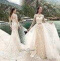 Robe de mariage New Design Long Wedding Dress 2017 O-Neck Long Sleeves Mermaid Appliques Lace Bride Dresses Detachable Skirt