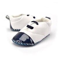 Childish Newborn Baby Shoes T Tied PU Leather Kids Girl Boy Toddler Crib Soft Soled Anti