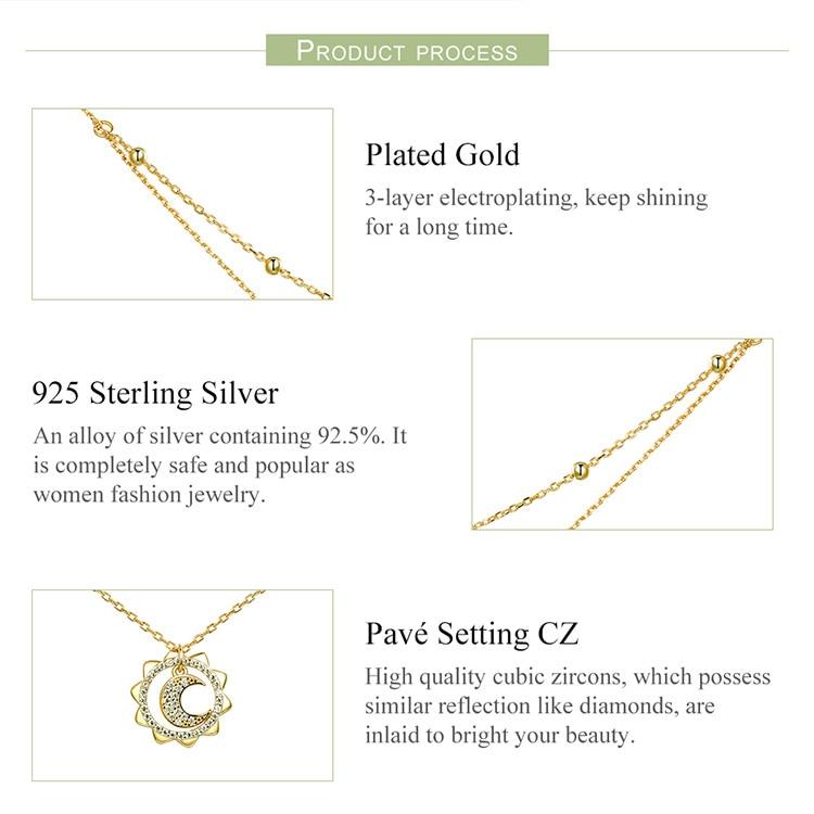 HTB1k1cAXIfrK1Rjy1Xdq6yemFXav BAMOER Vintage 925 Sterling Silver Sun Moon Shape Double Layers Choker Necklaces Pendant for Women Silver Jewelry Making SCN305