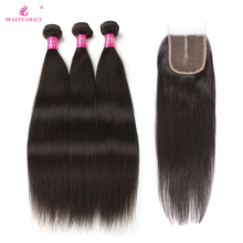 Skønhed Grace Hair Brasilian Straight Hair Weave Bundles With Closure 3 stk Ikke Remy 100% Human Hair Bundles With Closure