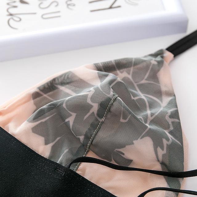 CINOON Women sexy underwear bra embroidery lingerie set thin lace bra transparent ultra-thin temptation push up bra set