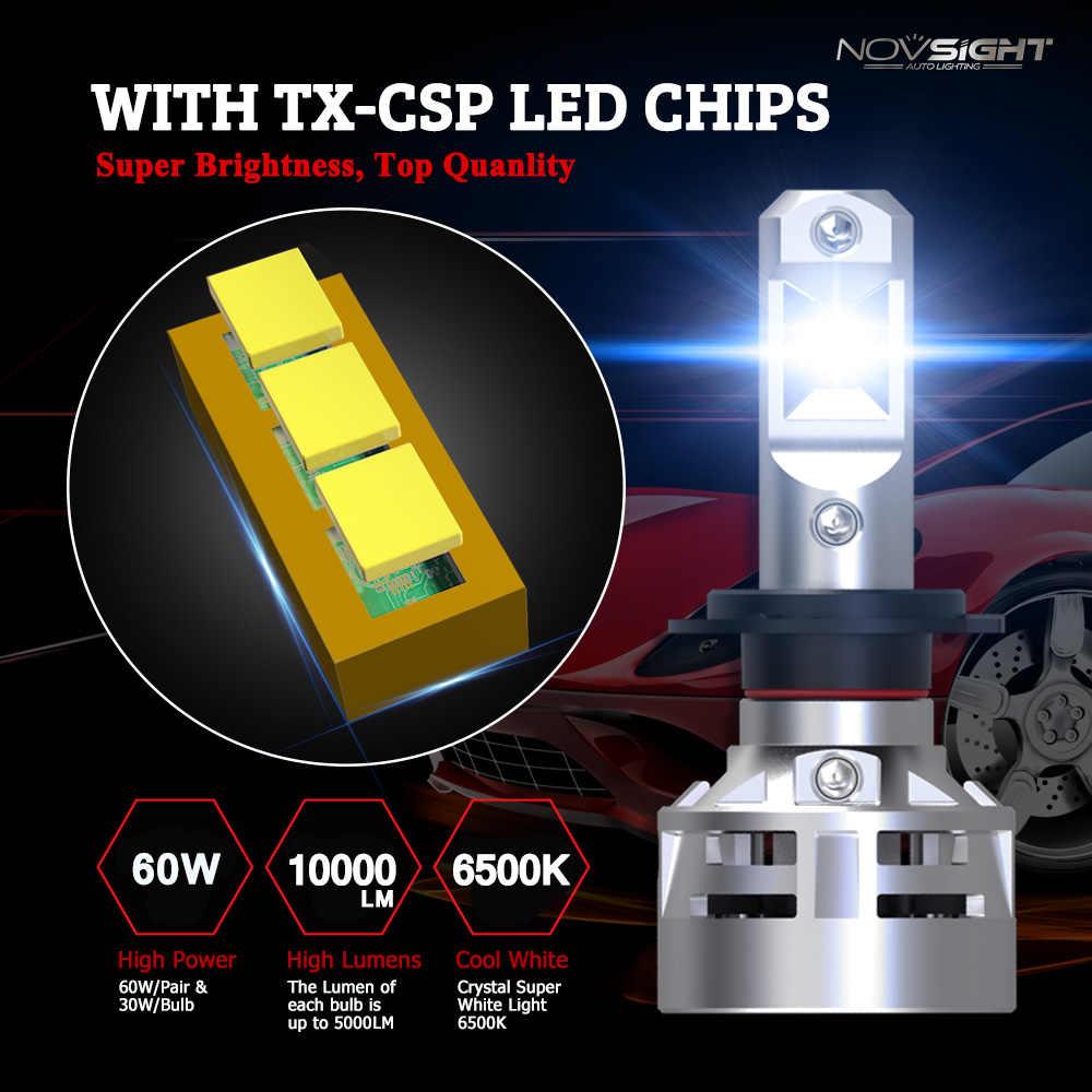 Комплект автомобильных фар головного света Novsight, светодиодная лампа с цоколем H7, H4, H11, противотуманная фара для