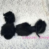 Прелестные туфли принцессы «Лолита» в готическом стиле loliloliyoyo antaina пользовательский черный из флока имитация кожи меха лисы толстый Туфли
