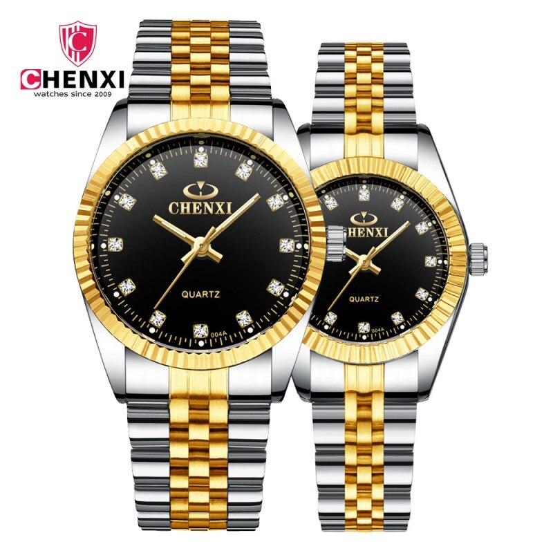 CHENXI Gold Wrist Watch Men Watches Lady Top Brand Luxury Quartz Wristwatches For Lover's Fashion Dress Clock Relogio Masculino