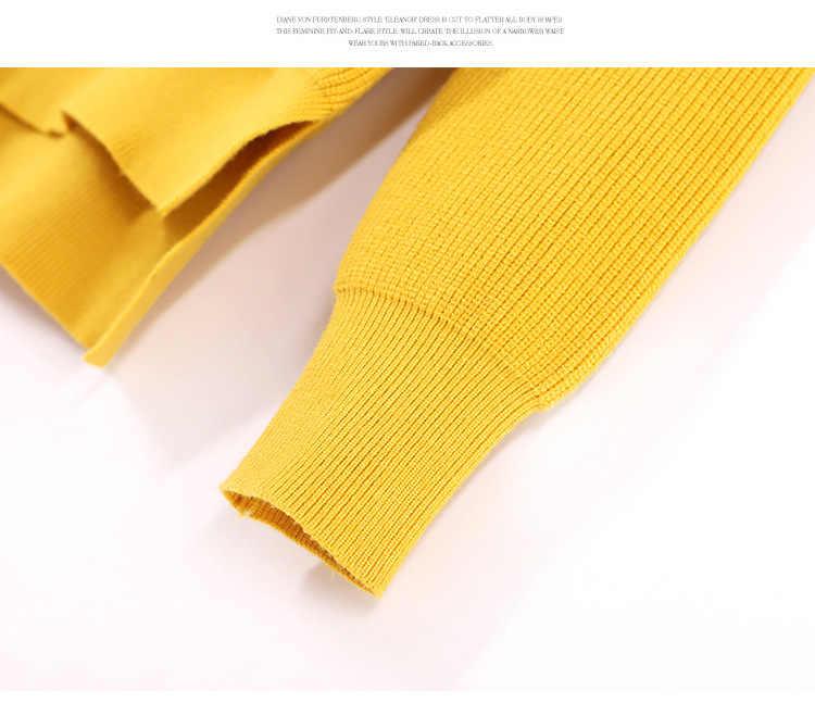 Örme Yüksek Boyun Kadın Kazak Yüksek Kaliteli Kış Düşünüyorum Sarı Bej Kazak Kadınlar Için