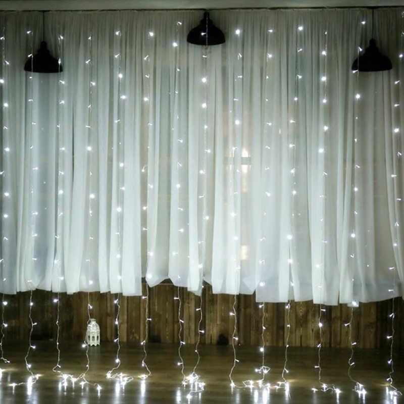 4,5 м x 3 м 300 гирлянда из ламп Рождественская сказочная занавеска зажигалки сосулька гирлянды для рождественской праздничной вечеринки Свадебные украшения