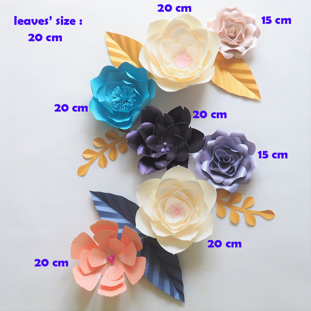 Diy Giant Paper Flowers Backdrop Artificial Handmade Mix Color