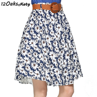 12 OAKS OF KATY Europe And America Women Fashion Elastic Waist Without Belt Pleated Skirt A