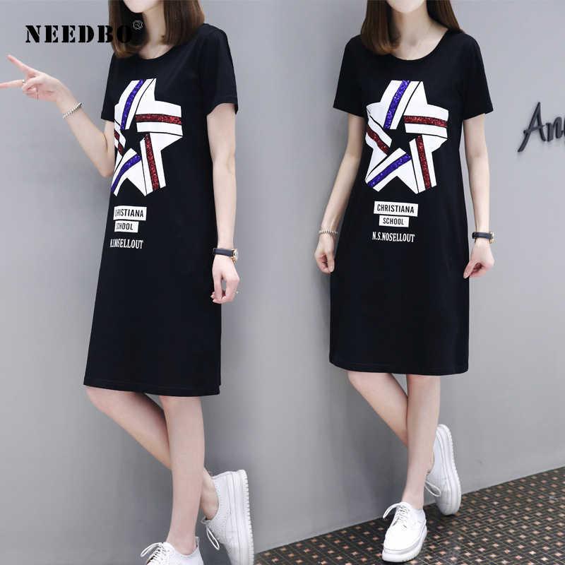 NEEDBO белая черная длинная футболка для женщин 2019 Slim Fit Большие размеры с круглым вырезом Женские рубашки уличная OL летняя футболка Женская мода с принтом