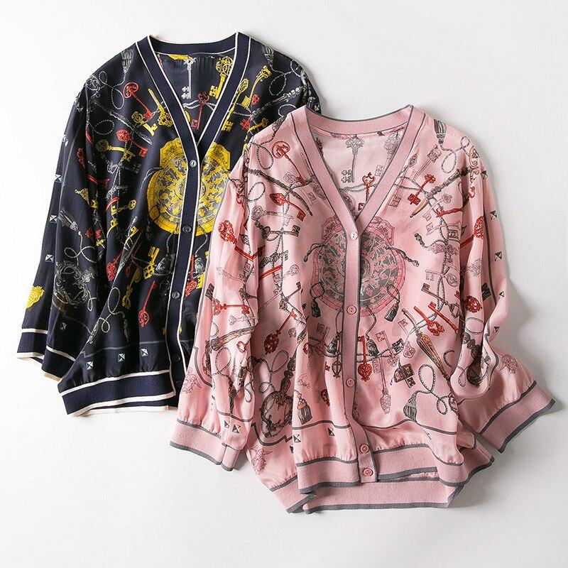 Nowa wiosna i lato 2019 kobiet odzież ozdoba, dekolt w serek, z nadrukiem jedwabiu klimatyzacja kardigan ubrania w Koszulki od Odzież damska na  Grupa 1
