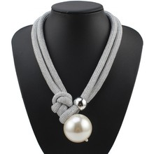 Florosy Handmade Statement Fashion New Big Bead Ball Pendant Necklace for Women Bib Multi Layers Long Rope Chain Pearl Necklace