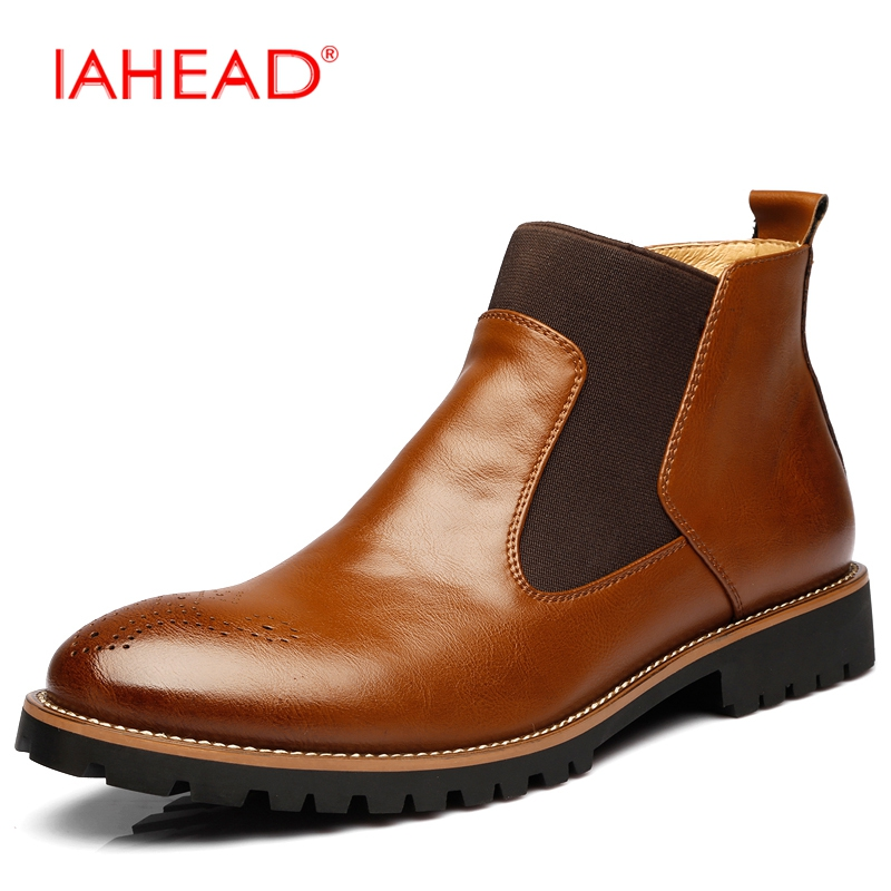 IAHEAD Men Chelsea Boots Slip-On Fluff Winter Keep Warm Shoes Men High Quality Men Leather Casual Boots Work Dress Shoes MH560 branded men s penny loafes casual men s full grain leather emboss crocodile boat shoes slip on breathable moccasin driving shoes