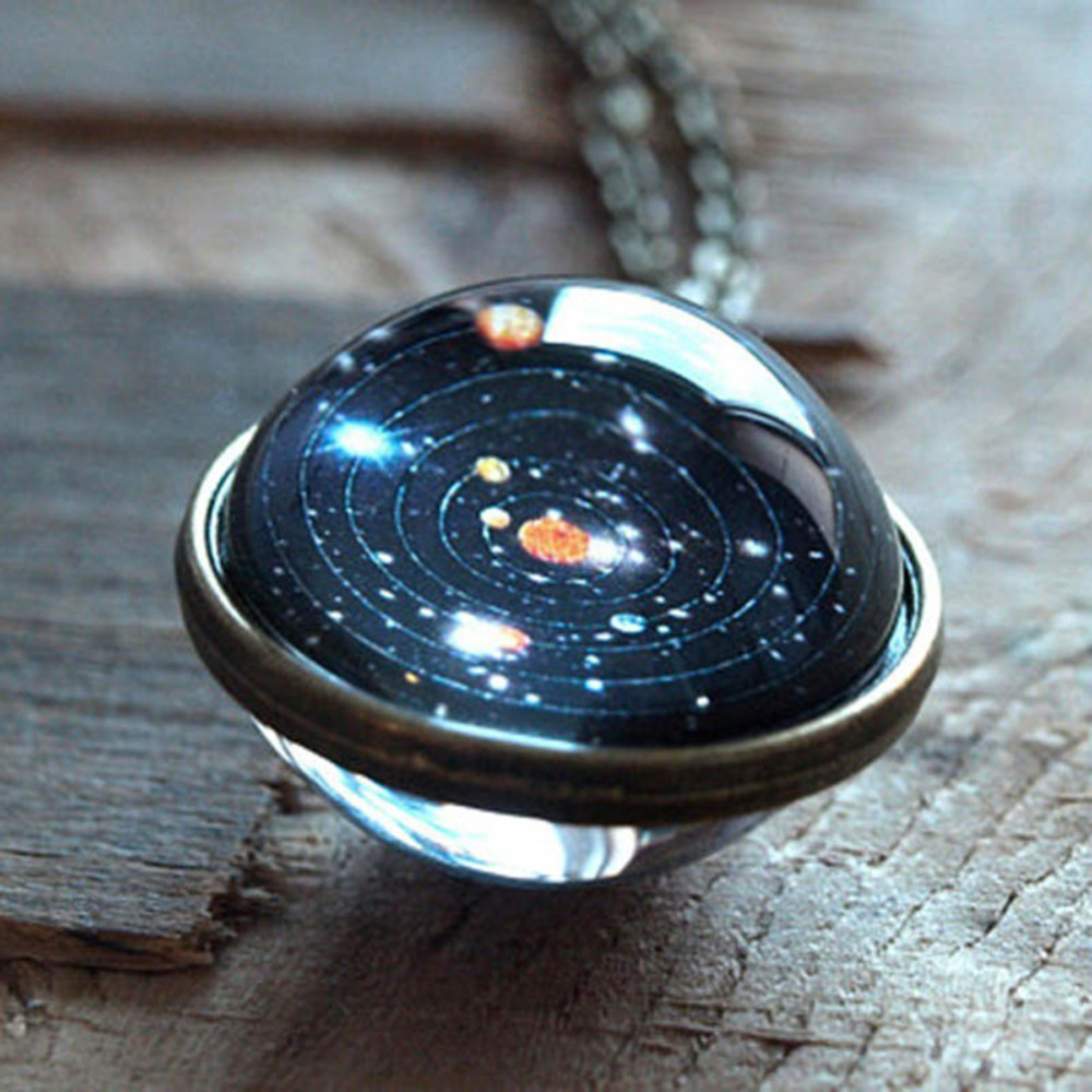 Solar System Necklace Pendant Planet Necklace Galaxy Double Sided Glass Dome Fashion Accessories Party Gift