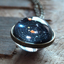 Solar System Necklace Pendant Planet Necklace Galaxy Double Sided Glass Dome Fashion Access