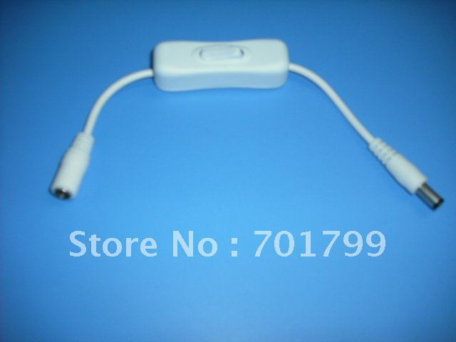 DC switch for single color strip, max 12V/3A load,5.5mm/2.1mm,20cm long cable